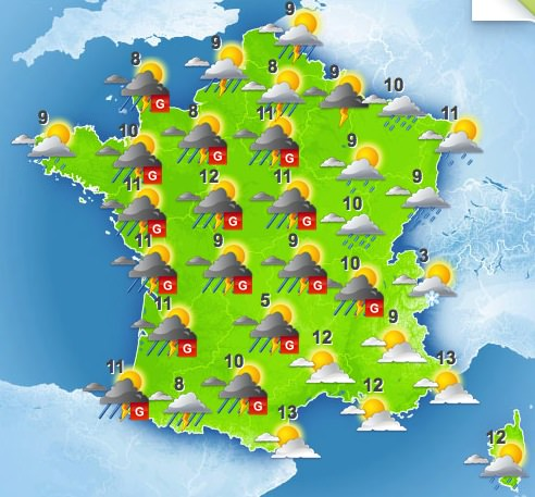 carte meteo france aujourd hui Week end doux   Open Time