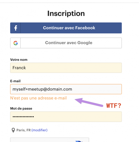 Message de mail invalide sur le formulaire d'inscription de Meetup