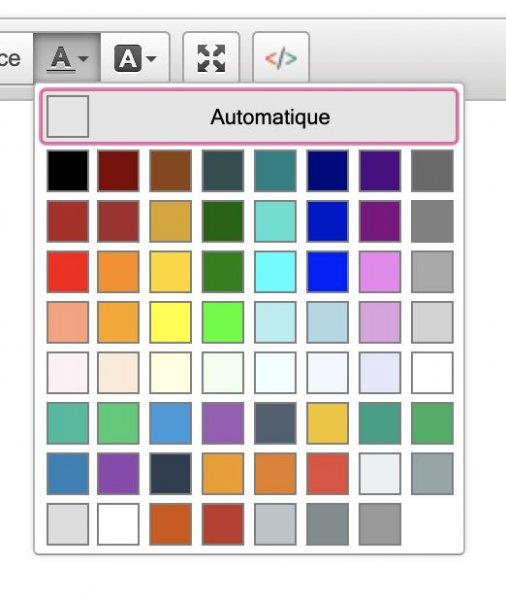 Exemple de palette de couleur CKEDitor, Dotclear 2.17, avr. 2020