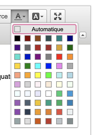 Palette de couleur CKEDitor proposée pour Dotclear 2.16.2, avr. 2020